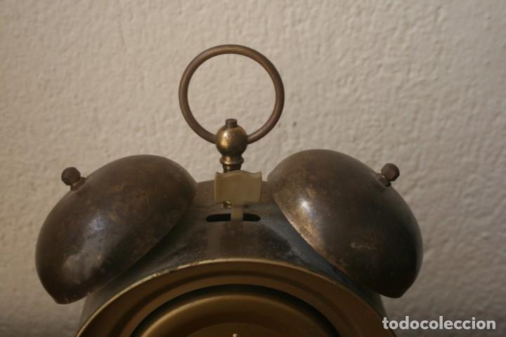 Despertadores antiguos: ANTIGUO RELOJ DESPERTADOR DE LATON CUARZO MARCA JERGER ALEMANIA AÑOS 60 FUNCIONANDO!!! - Foto 4 - 205874660