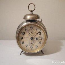 Despertadores antiguos: DESPERTADOR ANTIGUO AÑOS 20. FUNCIONA PERFECTAMENTE. DIÁMETRO ESFERA CRISTAL 10 CM. VER FOTOS. Lote 208780886
