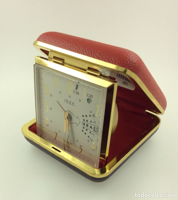Despertadores antiguos: Reloj despertador Plegable Marca IDEC Vintage con calendario - Foto 3 - 210022823