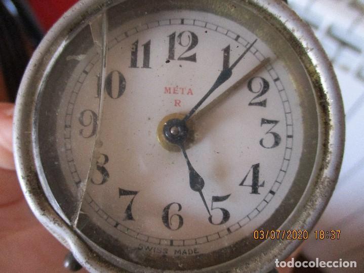 Despertadores antiguos: reloj despertador marca meta. Suizo. - Foto 4 - 210335068
