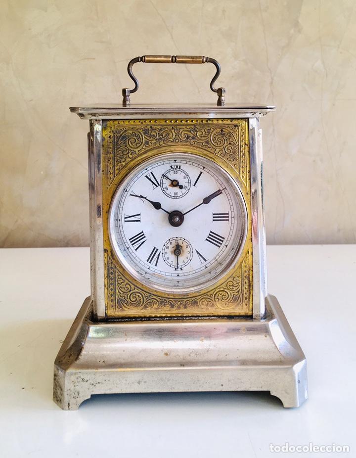 RELOJ DESPERTADOR ALEMAN ESTILO CARRUAJE JUNGHANS CON CAMPANA REPARADO Y EN FUNCIONAMIENTO! (Relojes - Relojes Despertadores)