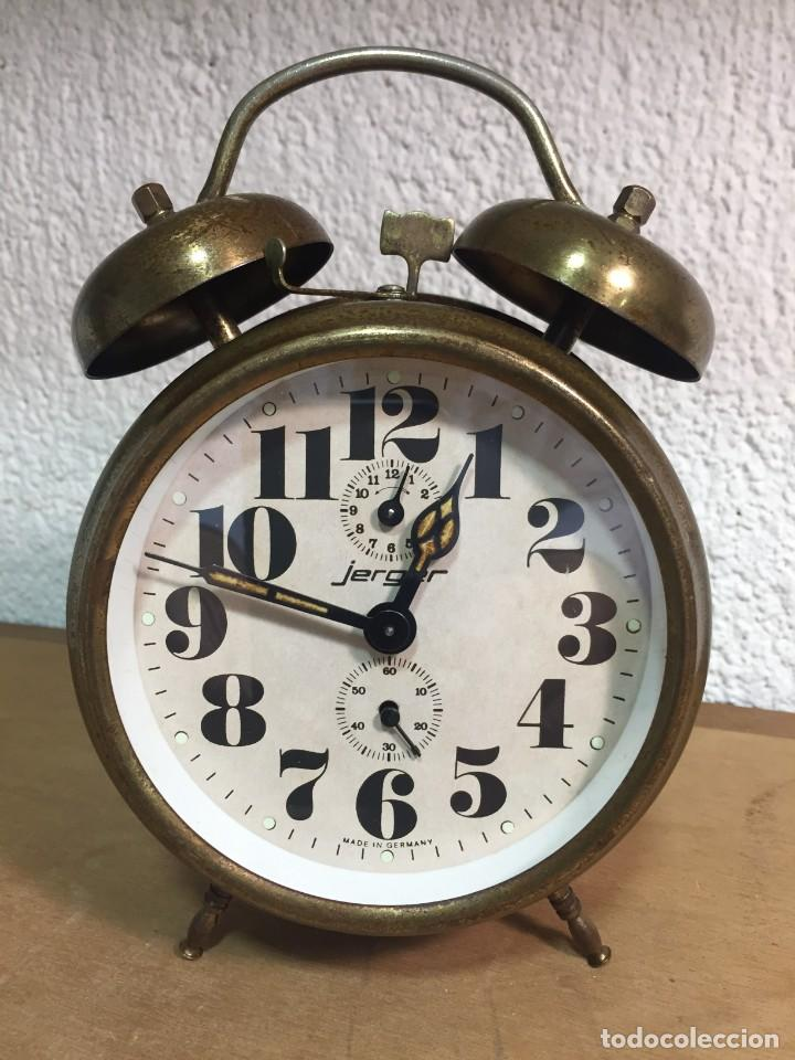 ANTIGUO RELOJ DESPERTADOR DE CUERDA Y CAMPANAS ALEMÁN MARCA JERGER, EN PERFECTO ESTADO CONSERVACIÓN. (Relojes - Relojes Despertadores)