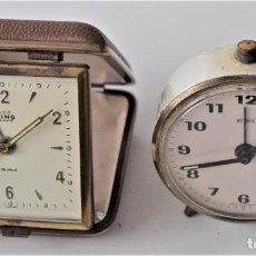 Despertadores antiguos: LOTE DOS RELOJES DESPERTADOR, UNO PLEGABLE, MARCAS EMES (GERMANY) Y KING DE LUXE (JAPAN) ANTIGUOS. Lote 217813451