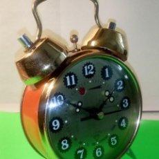Despertadores antiguos: RELOJ DESPERTADOR DE MESA - 2 CAMPANAS. PERFECTO ESTADO. DESCRIPCION Y FOTOS.. Lote 218402430