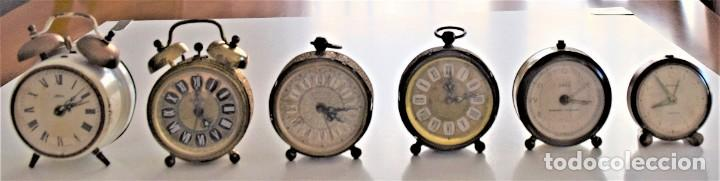 LOTE 6 RELOJ DESPERTADOR MARCAS BLESSIND, FAMOUS, KAISER Y DAEL FABRICADOS EN ALEMANIA (Relojes - Relojes Despertadores)