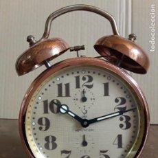 Despertadores antiguos: JAZ REPETITIÓN, RELOJ DESPERTADOR DE COBRE. Lote 221114708