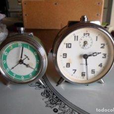 Despertadores antiguos: 2 ANTIGUOS RELOJES DESPERTADOR NUEVOS DE CUERDA. Lote 222609523