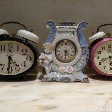 Despertadores antiguos: LOTE DE RELOJES DESPERTADORES JERGER,LANDEX,MEISTER-ANKER A CUERDA. Lote 223502957