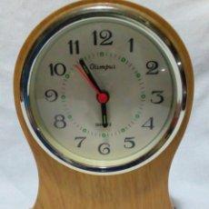 Despertadores antiguos: RELOJ DESPERTADOR DE MADERA MARCA OLIMPUS. Lote 223767390
