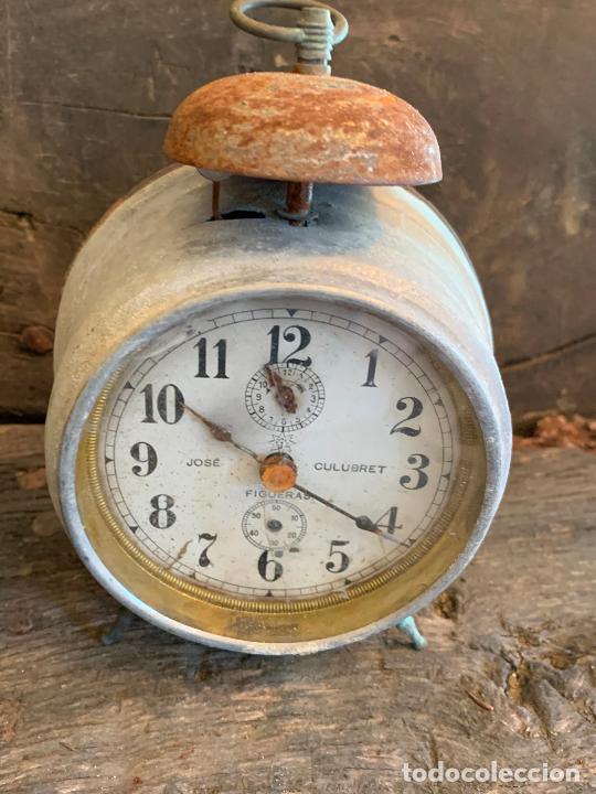 Despertadores antiguos: Curioso despertador antiguo, JOSE CULUBRET, FIGUERAS. Leer mas - Foto 2 - 227830460