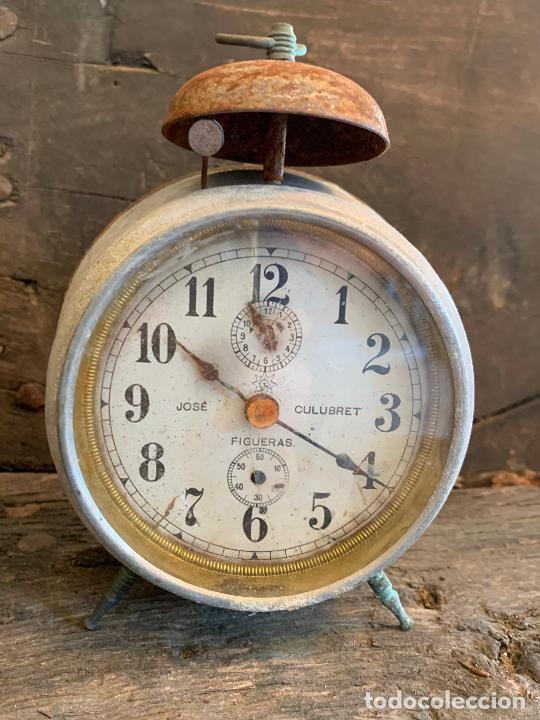 Despertadores antiguos: Curioso despertador antiguo, JOSE CULUBRET, FIGUERAS. Leer mas - Foto 3 - 227830460