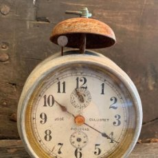 Despertadores antiguos: CURIOSO DESPERTADOR ANTIGUO, JOSE CULUBRET, FIGUERAS. LEER MAS. Lote 227830460