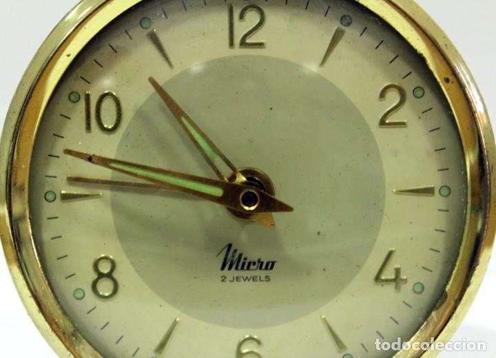 Despertadores antiguos: Reloj despertador MICRO 2 JEWELS. - Foto 2 - 228007945