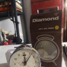 Despertadores antiguos: RELOJ DESPERTADOR VINTAGE DIAMOND DE CUERDA CARGA MANUAL AÑOS 60 EN SU CAJA. Lote 231799490