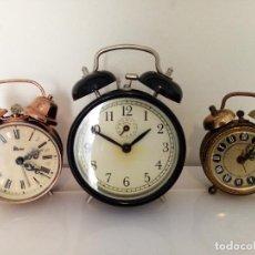 Despertadores antiguos: LOTE DE RELOJES DESPERTADORES DE SOBREMESA BLESSING,MICRO A CUERDA. Lote 235964490