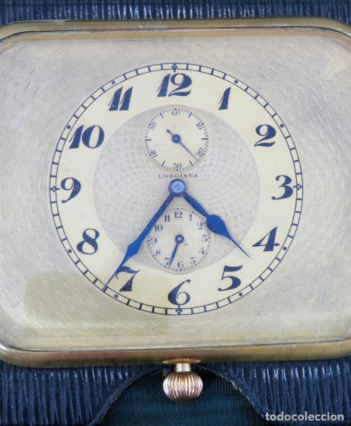 Despertadores antiguos: Reloj despertador de viaje portatil Longines segundero a las doce con estuche de piel siglo XX - Foto 5 - 237511470