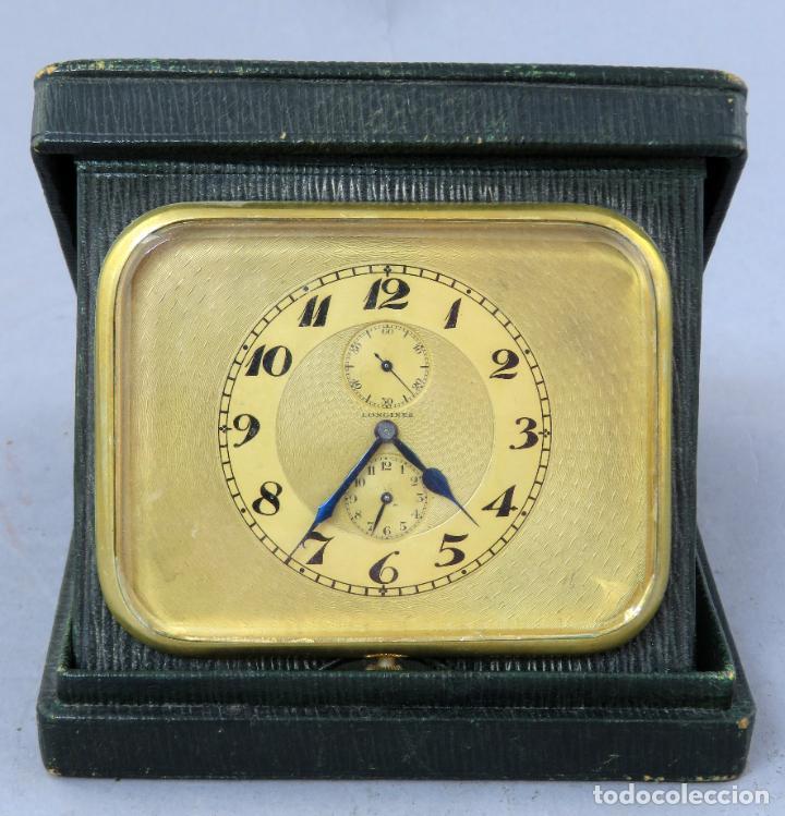 RELOJ DESPERTADOR DE VIAJE PORTATIL LONGINES SEGUNDERO A LAS DOCE CON ESTUCHE DE PIEL SIGLO XX (Relojes - Relojes Despertadores)