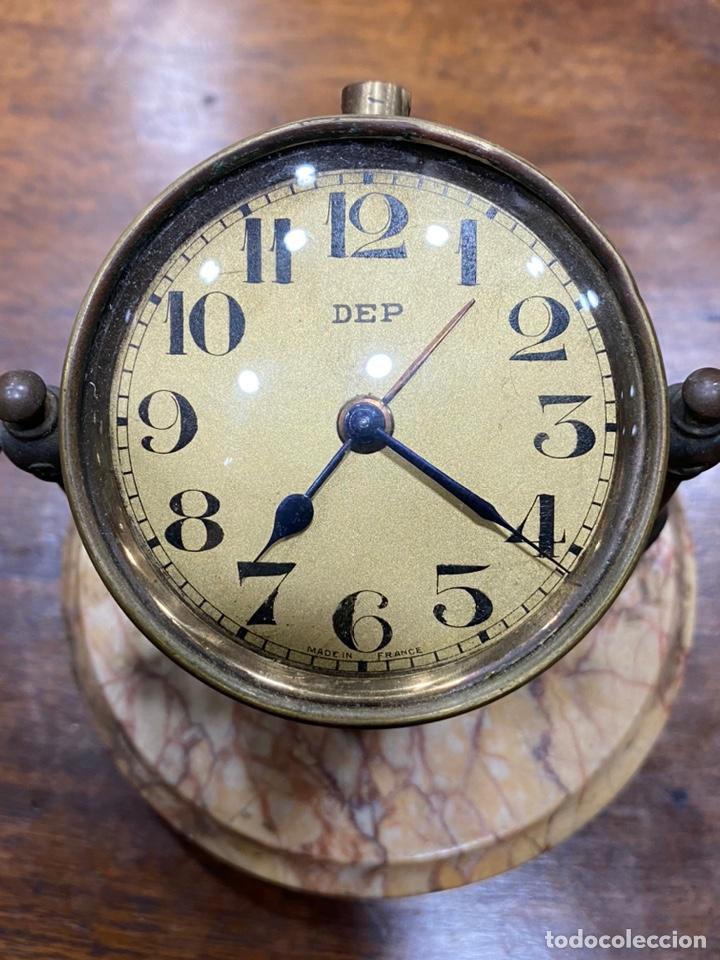 Despertadores antiguos: Reloj despertador DEP Art Déco basculante - Base mármol - Foto 2 - 244828570