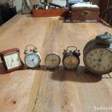 Despertadores antigos: 5 RELOJES DESPERTADORES. Lote 244894440