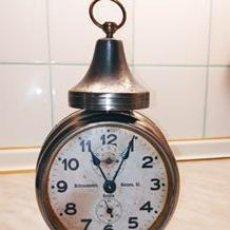 Despertadores antiguos: ANTIGUO RELOJ DESPERTADOR. FUNCIONANDO. 70 AÑOS. ALTO 21 - ANCHO 12.50 DESCRIPCION Y FOTOS.. Lote 244983490