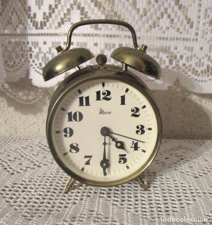 ANTIGUO RELOJ DESPERTADOR MICRO. FUNCIONA A CUERDA (Relojes - Relojes Despertadores)