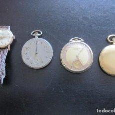 Despertadores antigos: LOTE DE CUATRO RELOJES, UNO DE PULSERA Y TRES DE BOLSILLO. Lote 253097465