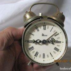 Despertadores antiguos: RELOJ DESPERTADOR VINTAGE MICRO FABRICACION ESPAÑOLA. Lote 253174700