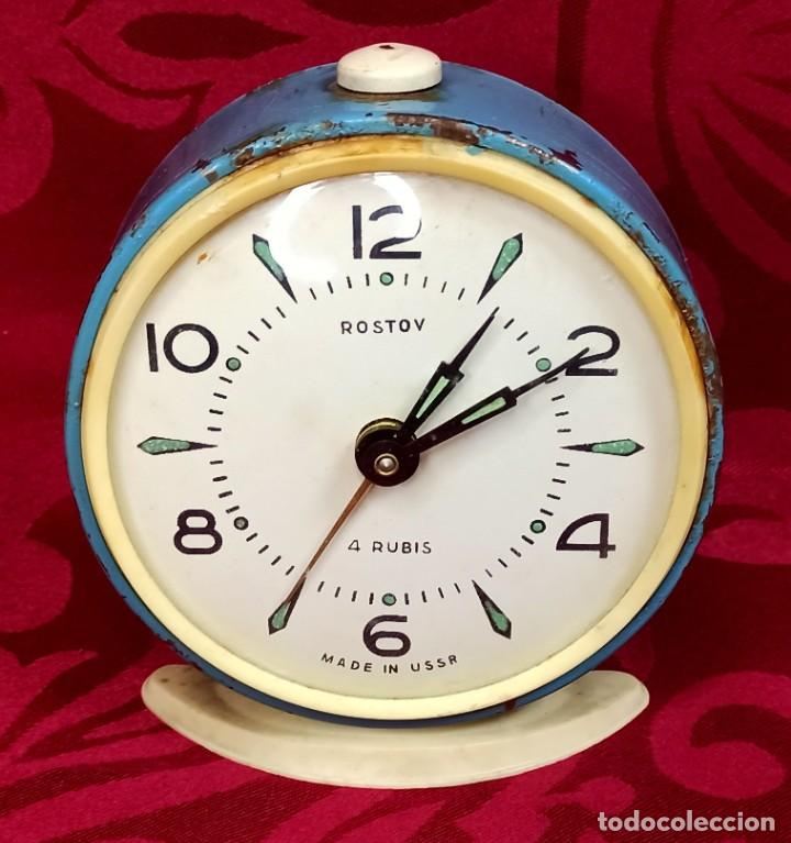 DESPERTADOR VINTAGE - AÑOS 50 - MARCA ROSTOV - MADE IN USSR URSS - FUNCIONA - 90 MM ESFERA (Relojes - Relojes Despertadores)