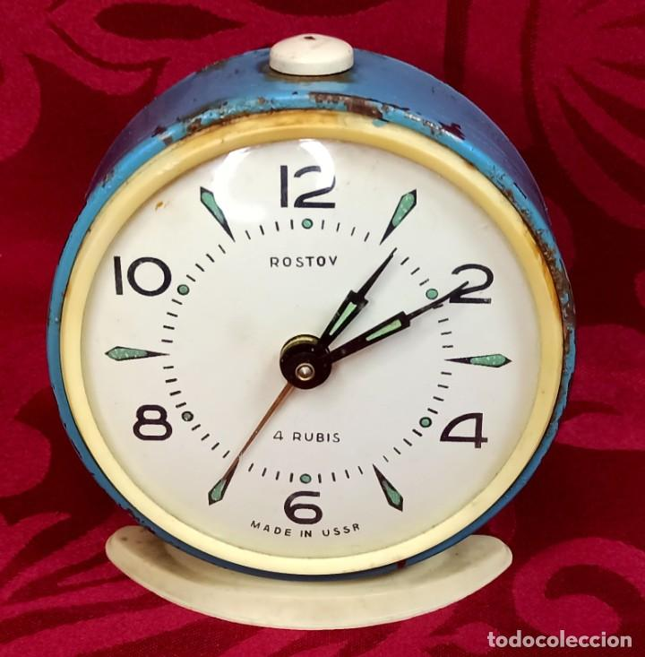 Despertadores antiguos: Despertador vintage - Años 50 - MARCA ROSTOV - MADE IN USSR URSS - Funciona - 90 mm esfera - Foto 5 - 261266235