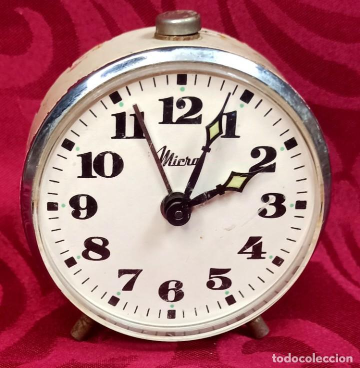DESPERTADOR VINTAGE - AÑOS 50 - MARCA MICRO - 70 MM ESFERA - FUNCIONA (Relojes - Relojes Despertadores)