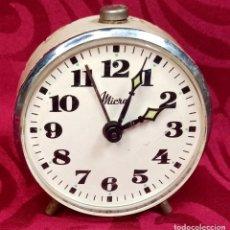 Despertadores antiguos: DESPERTADOR VINTAGE - AÑOS 50 - MARCA MICRO - 70 MM ESFERA - FUNCIONA. Lote 261267060