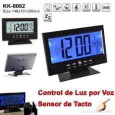 Despertadores antiguos: RELOJ DESPERTADOR LCD DIGITAL CON ALARMA TEMPERATURA CALENDARIO LUZ VOZ Y TACTIL. Lote 265790754