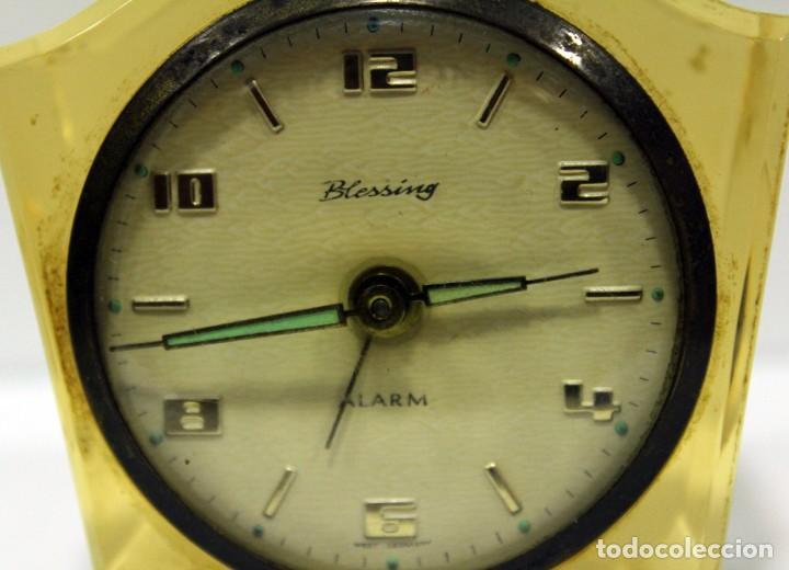 Despertadores antiguos: Reloj BLESSING de Metacrilato. WEST GERMANY. RARO! - Foto 2 - 267623344