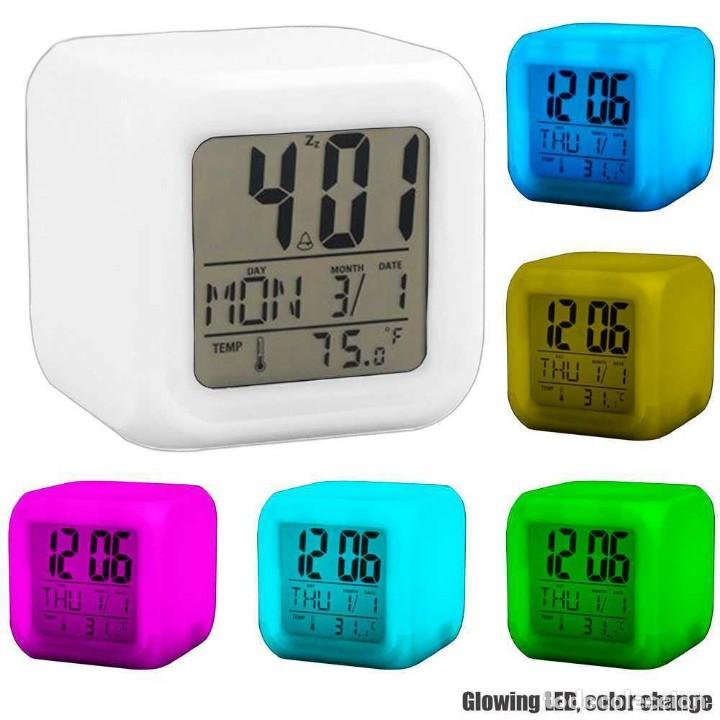 RELOJ DESPERTADOR CUBO CAMBIO DE COLORES DIGITAL TERMÓMETRO FECHA ALARMA DIGITAL (Relojes - Relojes Despertadores)
