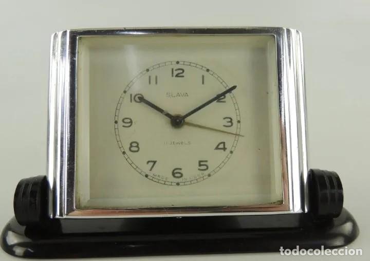ANTIGUO RELOJ DESPERTADOR DE SOBREMESA, SLAVA, UNION SOVIETICA, CUERDA, 11 RUBIES, AÑOS 50. (Relojes - Relojes Despertadores)