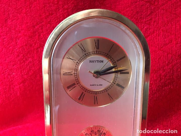 Despertadores antiguos: RELOJ RHYTHM QUARTZ ALARM TERMOMETRO - Foto 2 - 278689618