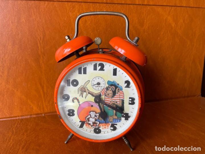 ANTIGUO Y CURIOSO RELOJ DESPERTADOR CON ANIMACIÓN (Relojes - Relojes Despertadores)