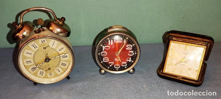 3 RELOJES DESPERTADORES ANTIGUOS MARCAS JAZ MICRO EUROPA OCASION (Relojes - Relojes Despertadores)
