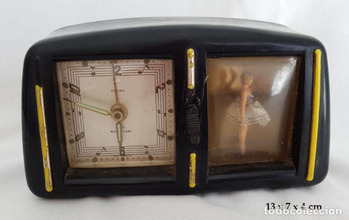 Despertadores antiguos: RELOJ DESPERTADOR CON CAJA DE MUSICA Y BAILARINA FLORN - Foto 4 - 290115683