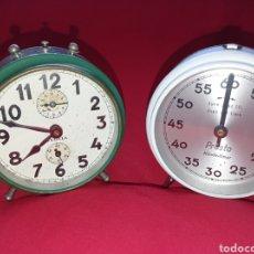 Despertadores antiguos: ANTIGUO RELOJ DESPERTADOR Y RELOJ TEMPORIZADOR DE COCINA.. Lote 294859578