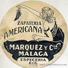 Dibujos: DIBUJO PUBLICITARIO ORIGINAL AÑOS 30 : ZAPATERÍA AMERICANA MÁLAGA. Lote 27334330