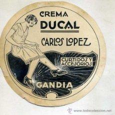 Dibujos: DIBUJO PUBLICITARIO ORIGINAL AÑOS 30 : CREMA DUCAL GANDÍA. Lote 27334840