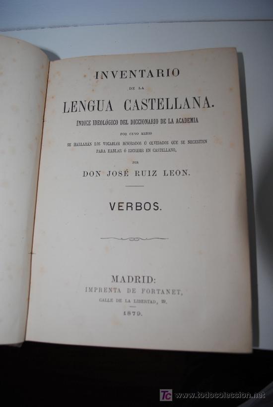 Diccionarios antiguos: 1879.- Inventario de la lengua castellana. Índice ideológico del diccionario de la Academia... - Foto 2 - 26231754