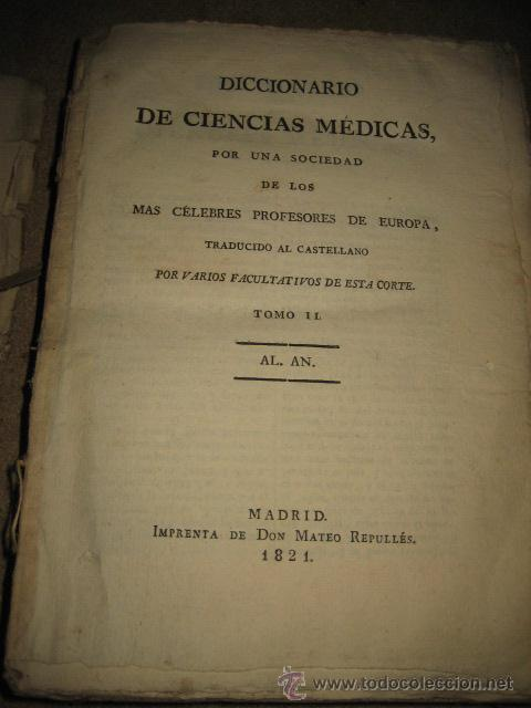 Diccionarios antiguos: DICCIONARIO DE CIENCIAS MEDICAS POR UNA SOCIEDAD DE LOS MAS CELEBRES PROFESORES DE EUROPA TOMOII.182 - Foto 4 - 24918372