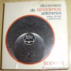 Diccionarios antiguos: - DICCIONARIO DE SINONIMOS ANTONIMOS PARONIMOS SOPENA. Lote 26708338