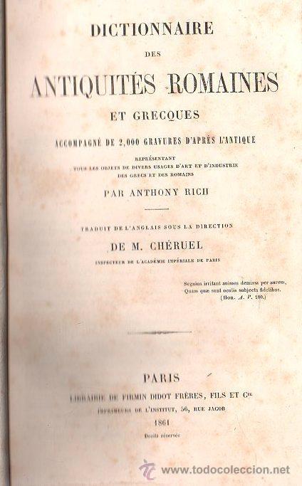 DICTIONAIRE DES ANTIQUIES ROMAINES - PARIS 1861 (Libros Antiguos, Raros y Curiosos - Diccionarios)