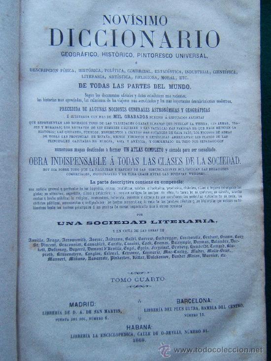 Diccionarios antiguos: NOVISIMO DICCIONARIO GEOGRAFICO, HISTORICO, UNIVERSAL...- (VER FOTOS TOMOS 2-3-4. FALTA EL 1) - 1864 - Foto 2 - 30882002