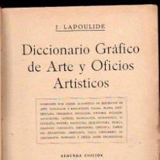 Diccionarios antiguos: J.LAPOULIDE, DICCIONARIO GRÁFICO DE ARTE Y OFICIOS ARTÍSTICOS, TOMO III, BCN, MONTESÓ, 1934. Lote 31040159