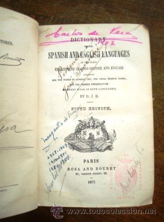 Diccionarios antiguos: DICCIONARIO ESP-ING, DEL AÑO 1872, ENCUADERNADO EN PIEL. - Foto 4 - 33122254