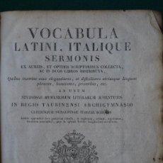 Diccionarios antiguos: LIBRO PERGAMINO DE VOCABULARIO LATIN- ITALIANO DE 1818 (MDCCCXVIII). Lote 35212237